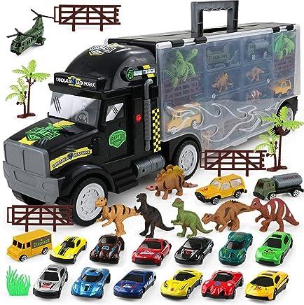 Siyushop Tractor Remolque Portador de Dinosaurios con 6 Mini Dinosaurios de plástico, 15 Coches, 2 árboles, 3 Guardabarros-Boy camión de Juguete