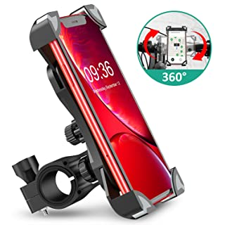 Bovon Anti-Shake Bike Phone Mount, 360° Rotation Universal Bicycle Motorcycle Phone Mount Holder Stand Cradle Clamp for iPhone 11 Pro Max/X/XR/XS MAX/8/7 Plus, Samsung Galaxy S10/S10e/S10/S9 Plus