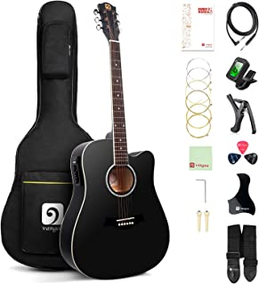 Best Vangoa Acoustic Electric Guitar, 41 Inch Full Size Dreadnought Acoustic-electric Cutaway Guitar Folk Beginner Kit, Black Review