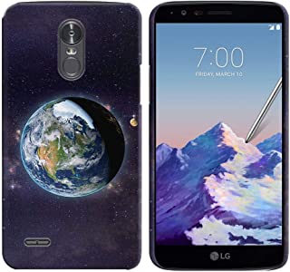 FINCIBO Case Compatible with LG Stylo 3 Stylus 3 LS777 / Stylo 3 Plus, Back Cover Hard Plastic Protector Case Stylish Design for LG Stylo 3 Stylus 3 - Moon Earth Cosmos Galaxy