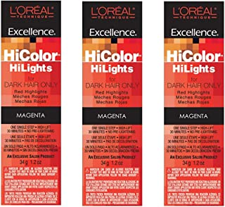 L'Oreal Excellence HiColor HiLights MAGENTA Permanent Tint HC-05101 (3 Pack)