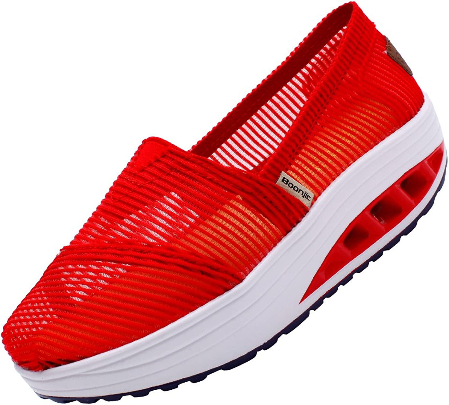 KUIBU Women Lightweight Sport Breathable Slip-On Platform shoes Net Yarn High Heel Sneaker Athletic