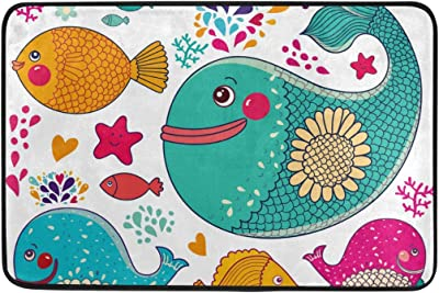 Mydaily Sea Fish Starfish and Coral Doormat 15.7 x 23.6, Living Room Bedroom Kitchen Bathroom Decorative Lightweight Foam Printed Rug