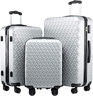Seanshow Luggage Sets Hard Shell Silver Lightweight TSA Lock Approved 3PCS Luggage Set 18-24-28in