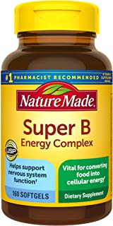 Nature Made Super B Energy Complex, Dietary Supplement for Nervous System Support, 160 Softgels,...