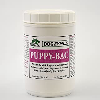 Dogzymes Puppy-Bac Milk Replacer formulated with The Proper ratios of Protein, Fat and nutrients for Growing Puppies