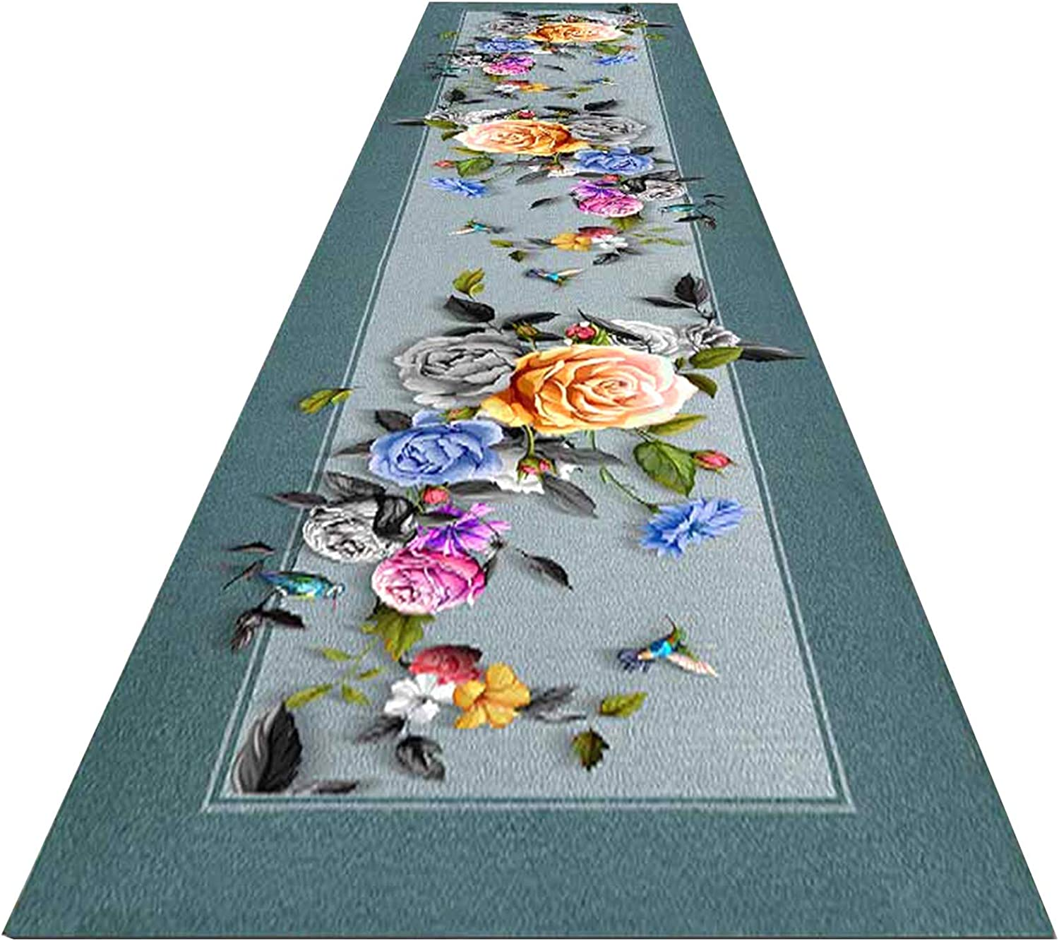 Over item Outlet sale feature handling Traditional Area Rug with Blue Floral C Pattern Runner Non Slip
