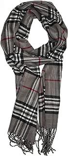 "Soft Plaid Check Winter Scarf Warm Oblong 12""x72"" Fringe Unisex"