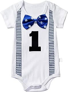 NNJXD Baby Boys' Funny First Birthday Bow Tie Infant Romper Bodysuit