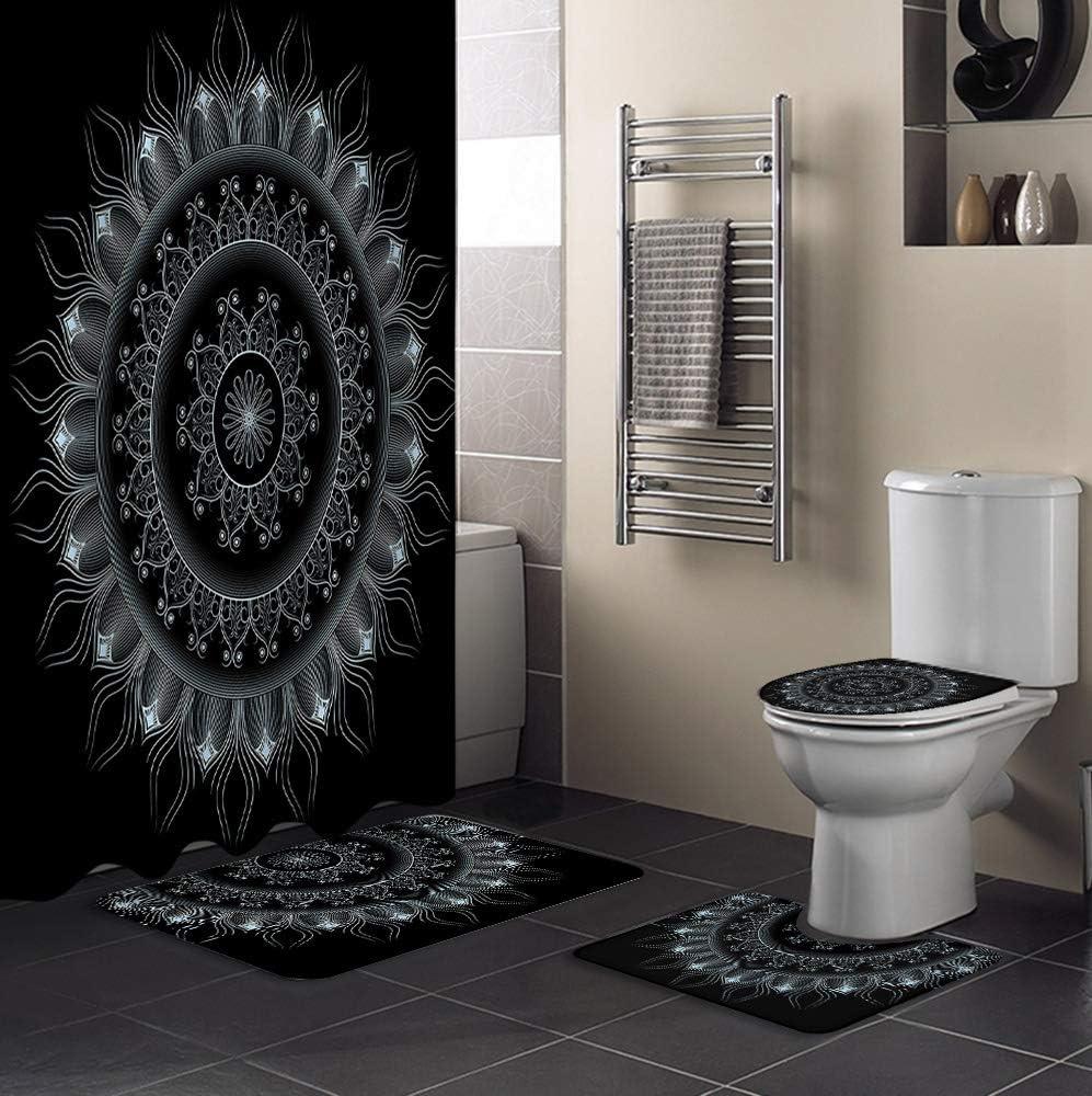 チープ Bathroom Set 4 Piece 売買 Shower Man Curtain Accessories and Mats