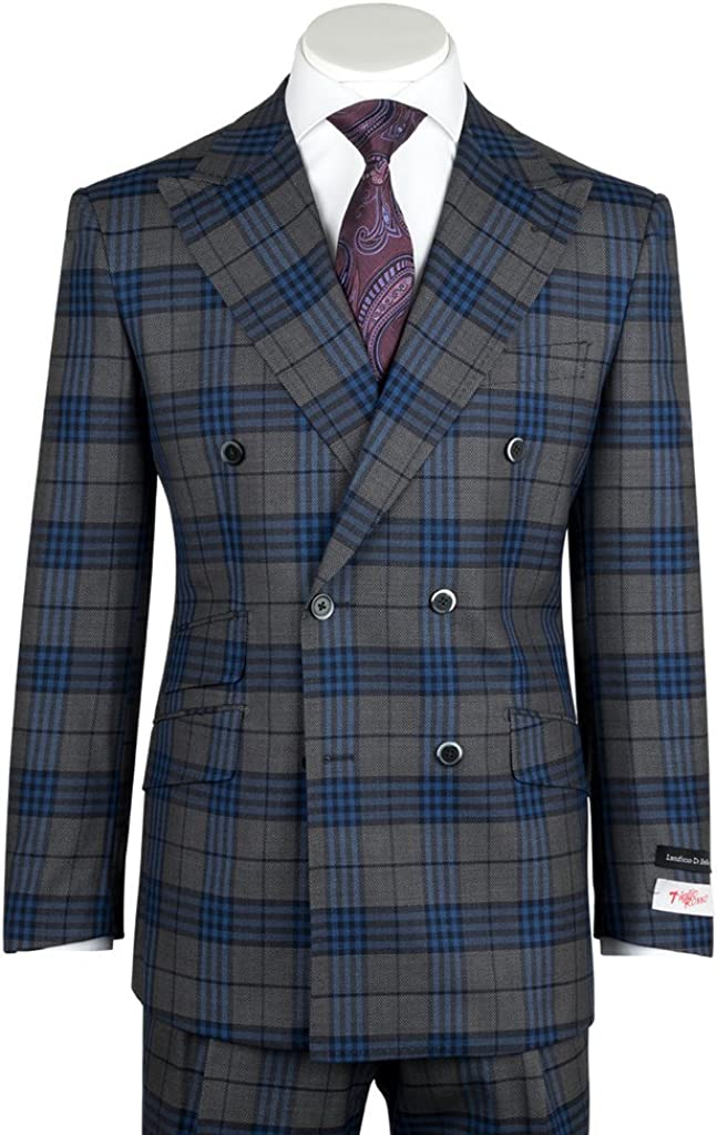 Tiglio Rosso EST Gray with Blue Windowpane/Plaid Wide Leg, Pure Wool Suit 261313/5