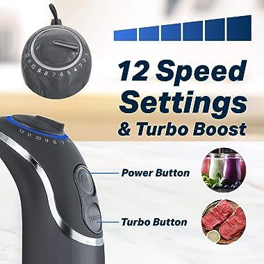 Mueller Austria Hand Blender, Smart Stick 800W, 12 Speed and Turbo Mode, 3-in-1, Heaviest Duty Copper Motor Immersion Blender