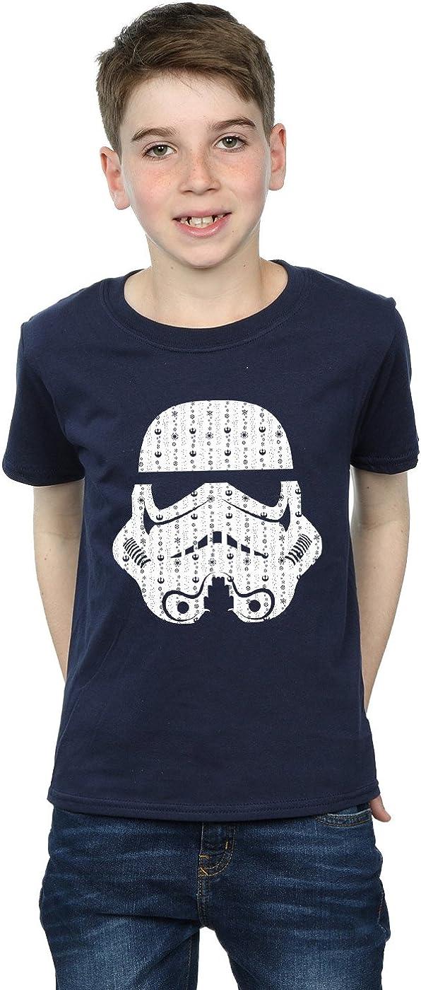 STAR WARS Boys Christmas Stormtrooper Helmet T-Shirt 9-11 Years Navy Blue