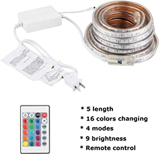 Waterproof Led Strip Lights Outdoor Indoor with Romote, Color Changing, Power Supply with Fuse, 16.4FT/5M, 300 SMD Lights,...