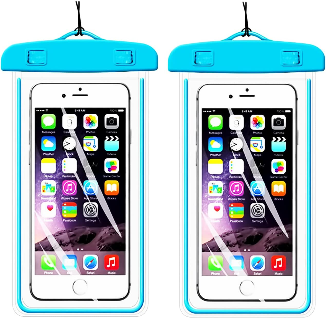 2Pack BlueUniversal Waterproof Phone Case Dry Bag CaseHQ for iPhone 4/5/6/6s/6plus/6splus,Samsung Galaxy s3/s4/s5/s6 etc. Waterproof, Dust Dirt Proof, Snow Proof Pouch for Cell Phone up to 5.8 inches