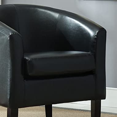 BELLEZE Modern Accent Arm Club Chair Faux Leather Tub Barrel Style for Living Room, Bedroom, or Reception Room with Flared Le