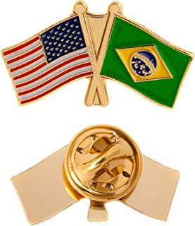 Brazil Country Double Flag Lapel Pin Enamel with United States USA US Souvenir Hat Men Women Patriotic Brazilian (Double Flag Pin)
