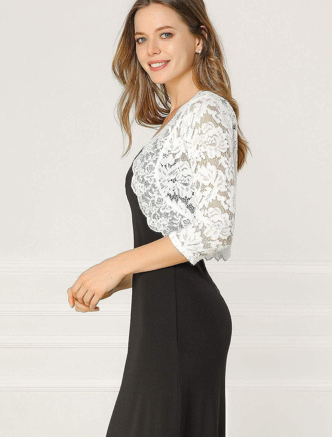 Allegra K Women's Elegant 3/4 Sleeve Sheer Floral Lace Shrug Top