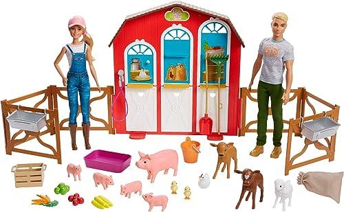Barbie et Ken Coffret étable poupées et figurines animaux de la ferme, jouet pour Enfant, GFF51