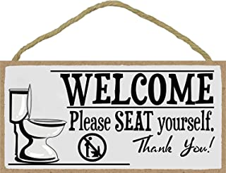 4X8 Printed Wood Plaque Sign Wall Hanging Welcome Sign Please Seat Yourself Bathroom Wall Art Decor Signs with No Standing Pee