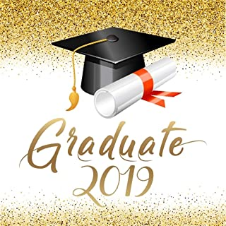 LFEEY 8x8ft Graduation Party Backdrop 2019 Graduate Grads Senior Year Prom Parties Decoration Poster Banner Mortarboard Sequins Photo Background Photo Studio Props