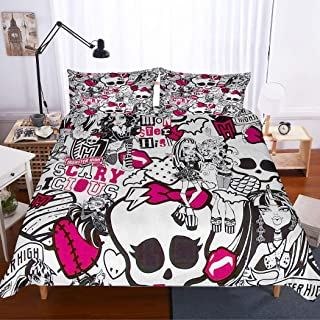 MOUMOUHOME Monster High Girls Bedding Set 3D Pretty Girls Hippie Pink Printed Black/White Duvet Cover Set for Kids,Decorative 3 Pieces with 1 Duvet Cover 2 Pillow Sham,Queen Size
