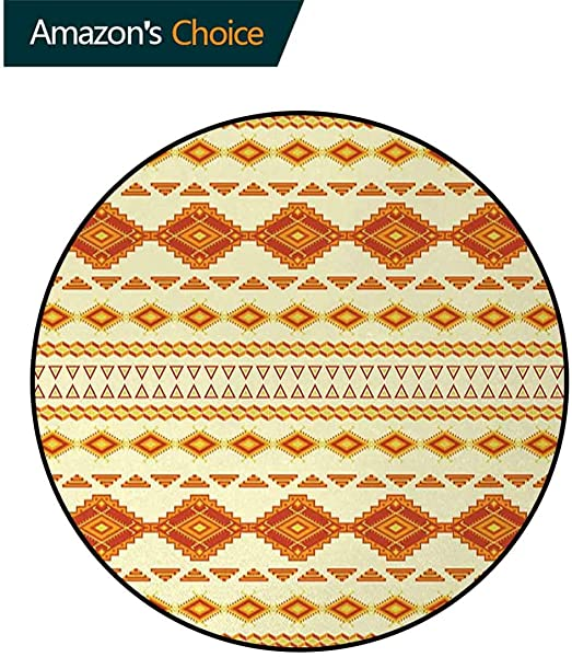 Native American Modern Machine Washable Round Bath Mat Old Aztec Pattern With Vintage Colors Ethnic Mexican Indigenous Culture Non Slip Living Room Soft Floor Mat Diameter 59 Inch Yellow Orange