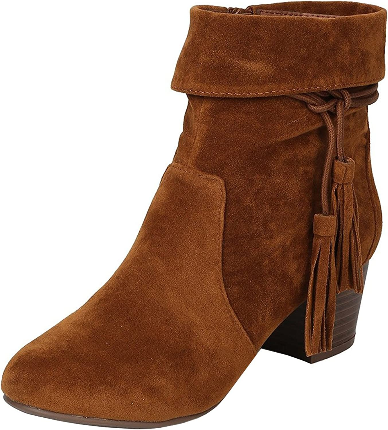 Breckelles Women's Closed Toe Cuff Tassel Chunky Stacked Mid Heel Ankle Bootie