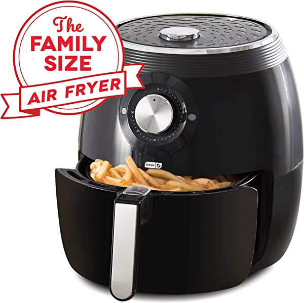 Dash DFAF455GBBK01 Deluxe Electric Air Fryer Oven Cooker With Temperature Control Non Stick Fry Basket Recipe Guide Auto Shut Off Feature 6qt Black