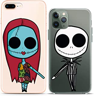 Cavka TPU Couple Cases for Apple iPhone 11 Pro Xs Max X Xr 8 Plus 7 6s SE 5s Clear Nightmare Undead Couple Forever Christmas Girlfriend Her Flexible Relationship Silicone Cover Cute Print Matching