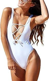 David Salc Sexy One Piece Bandage Bathing Suits Solid Color Lace-up U Back Bikini