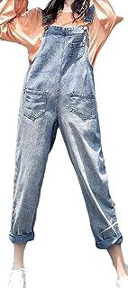 ZhongJue(ジュージェン)サロペットパンツ レディース ゆったり 韓国 デニムオーバーオール 無地 ストリート系 着痩せワイドパンツ ポケット付き 春