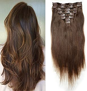 Luwigs 16 inches 130g #4 Medium Brown Remy Clip in Hair Extensions Silky Straight Human Virgin Hair Thick Clip in Extension for Women
