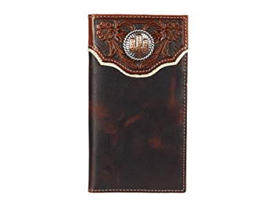 M&F Western Cactus Concho Floral Embossed Rodeo Wallet (Brown) Handbags