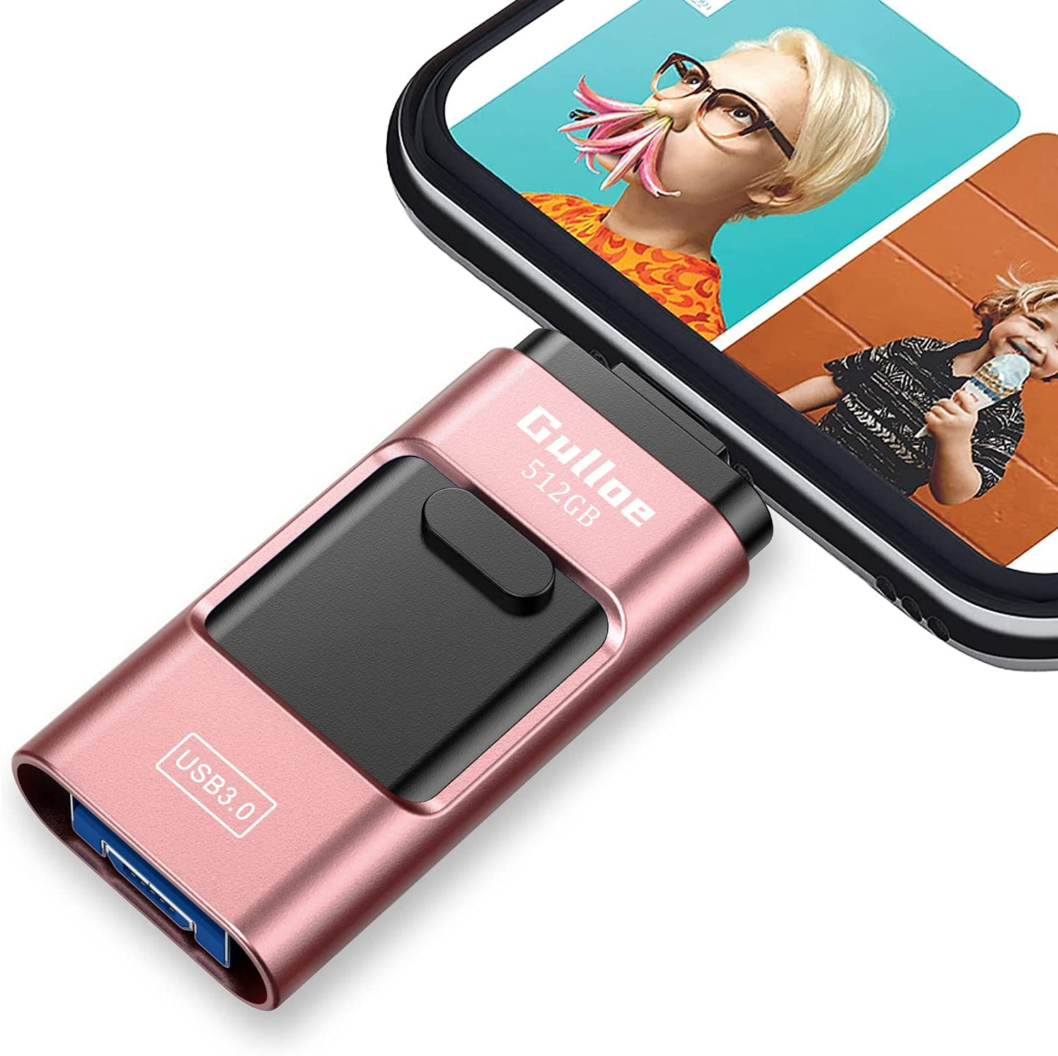 Gulloe USB3.0 iPhone Flash Drive 512GB, iPhone USB Memory Stick External Storage Thumb Drive Photo Stick Compatible with iPhone, Android, Computer and More Devices (Rose Gold)