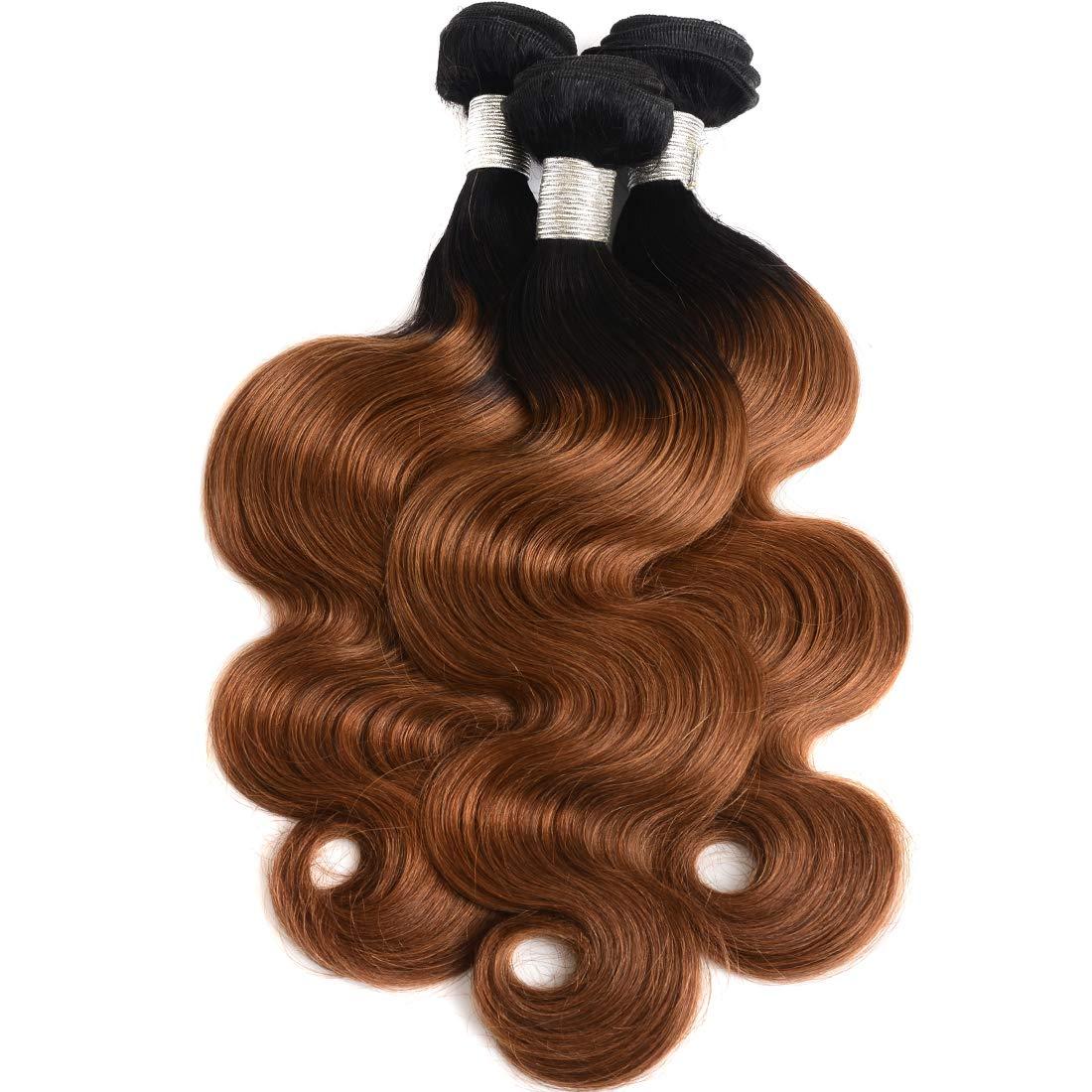 AUTTO Ombre Brazilian 即納送料無料! 当店一番人気 Hair 3 Body Wave Bundles