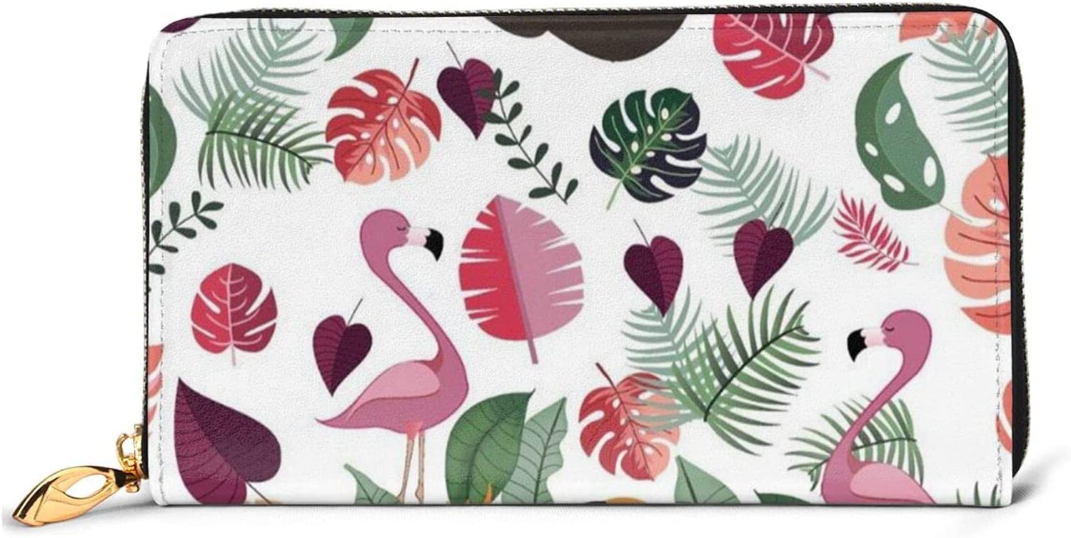 Sloth Ranking TOP5 In Pink Tropical Jungle Same day shipping Leather Zip Arou Wallet Women Long