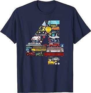 Cars Trucks Modes of Transport fourth Birthday Boy T-shirt