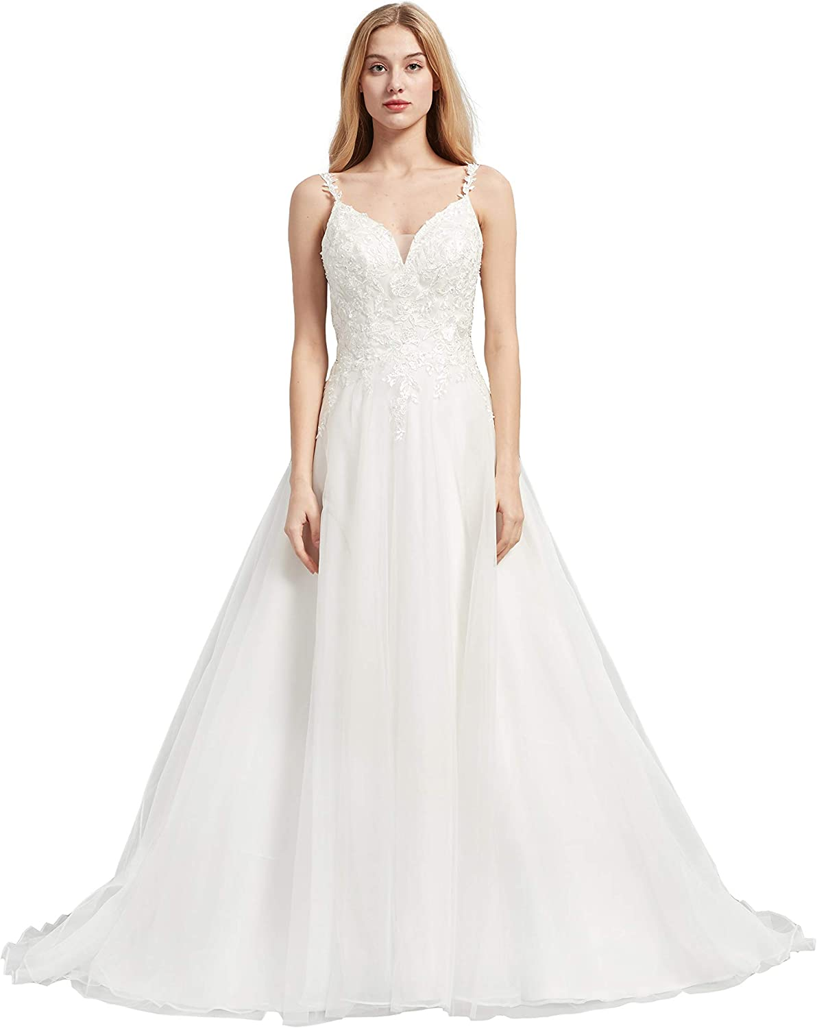 Special Bridal Sexy Super Special SALE held A-line Backless Tulle Wedding Appliques Dres Now on sale