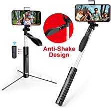 MOCREO Selfie Stick, Gimbal Stabilize Selfie Stick with LED Light Smooth Video Record Tripod Extendable Anti-Shake Selfie Stick for Live Broadcast Compatible with iPhone&Andriod Remote Control