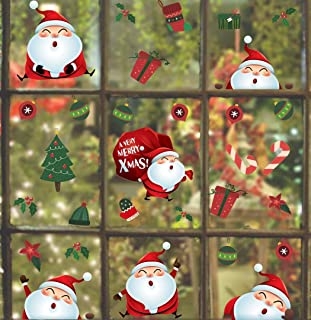 TOARTi Santa Claus Wall Decals(38 Decals), Bauble Wall Stickers, Christmas Tree Stocking Gift Mistletoe Wall Art for Christmas Day Window Cling Door Bedroom Home Decor