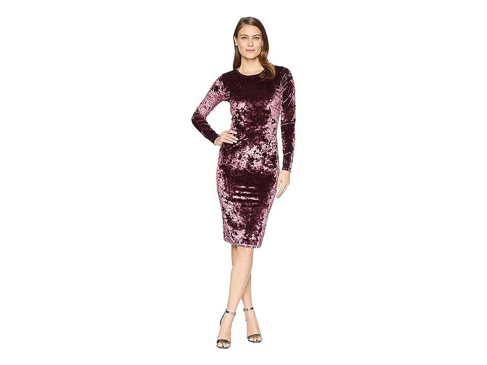 MICHAEL Michael Kors Panne Velvet Crew Long Sleeve Dress (Cordovan) Women
