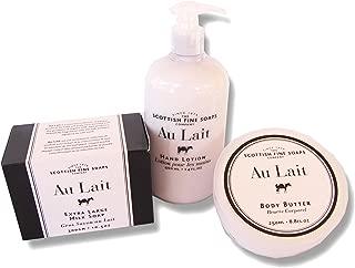Au Lait Hand Lotion Pump 14. Oz. + Body Butter 8.8 Oz. + Extra Large Milk Soap 10.5 Oz.