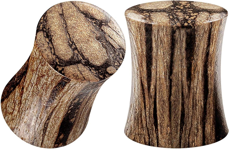 BIG latest GAUGES Pair of Batik Max 85% OFF Wood Double Saddle Jewe Piercing Flared