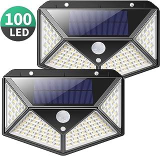 Luz Solar Exterior, Kilponen 100 LED Foco Solar Exterior Gran �ngulo 270° con Sensor de Movimiento 1800mAh Lámpara Solar Impermeable Solares de Pared de Seguridad 3 Modos para Jardín [2 Paquete]