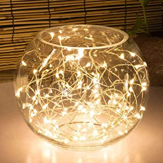 Highill 20LED Fairy Light Battery Operated, LED Lights with Timer Setting Warm White String Lights, 2M Silver Wire Starry ...