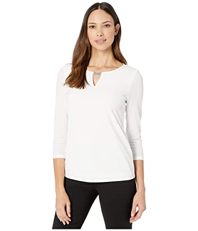 Calvin Klein Long Sleeve Top with Chainmail (Soft White) Women
