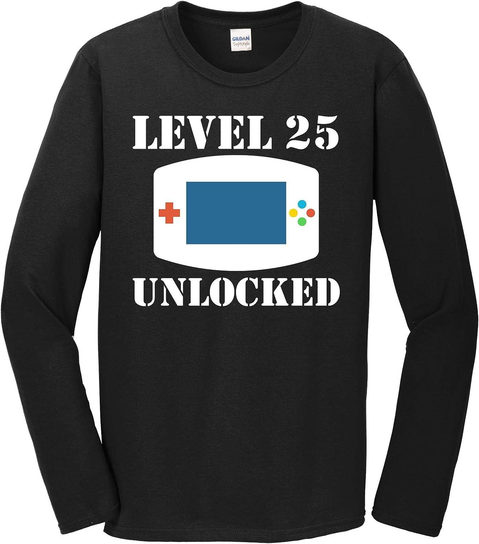 Amazon Com 25th Birthday Shirt Level 25 Unlocked Funny Video Games Long Sleeve T Shirt Clothing