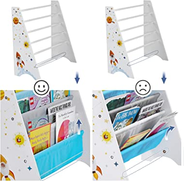 SONGMICS Kids' Book Organizer Storage Shelf for Playroom, Children's Room, Blue and Gray