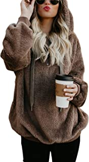 Women's Fuzzy Casual Loose Oversized Sweatshirt Hooded with Pockets (11 Color,S-XXL)